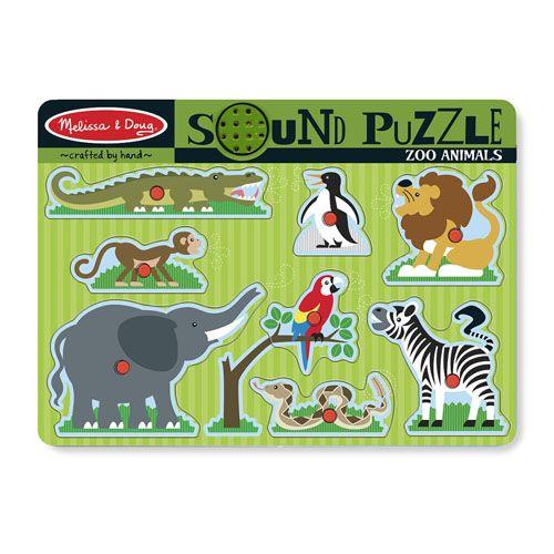Puzzle de Lemn cu Sunete Animale de la Zoo, Melissa and Doug