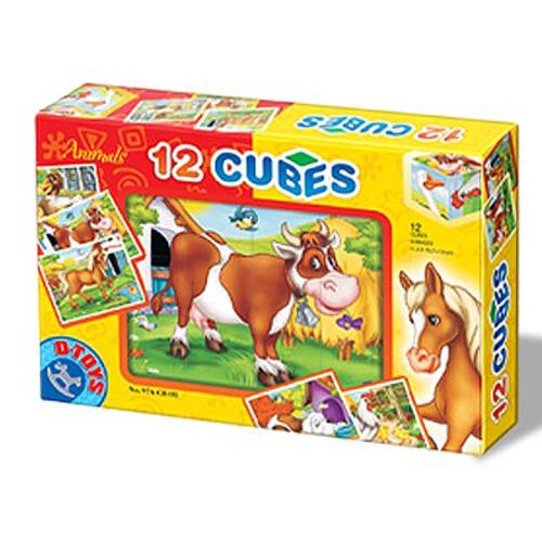Cuburi 12 Piese Animale, D-Toys