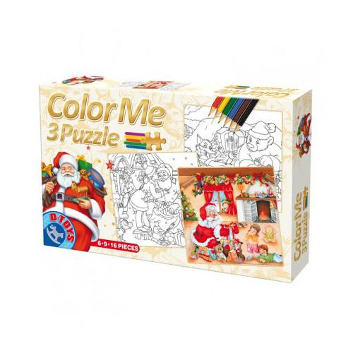 D-Toys - Color Me 3 Puzzle Craciun (6,9,16 piese)