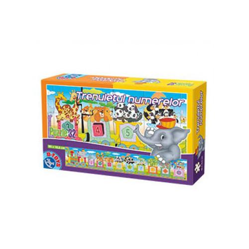 Puzzle 32 Piese Trenuletul Numerelor, D-Toys