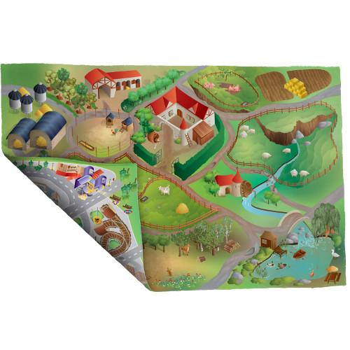 House of Kids - Covoras de Joaca Imprimeu Dublu Ecomat - Ferma si Oras