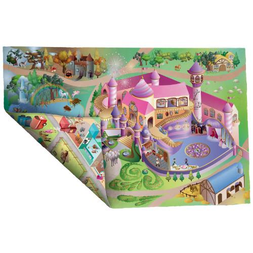 Covoras de Joaca Imprimeu Dublu Ecomat - Castel Princess si Echitatie, House of Kids