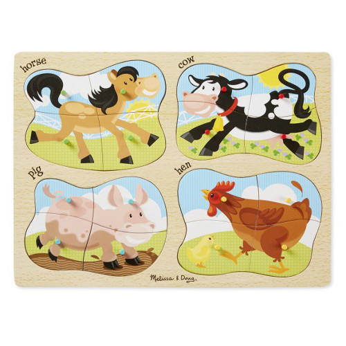 Puzzle Lemn 4 in 1 Ferma, Melissa and Doug