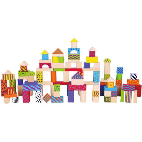 Set de 100 Cuburi din Lemn, New Classic Toys