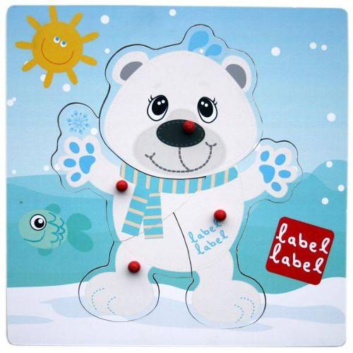 Puzzle din Lemn Urs Polar, Label Label