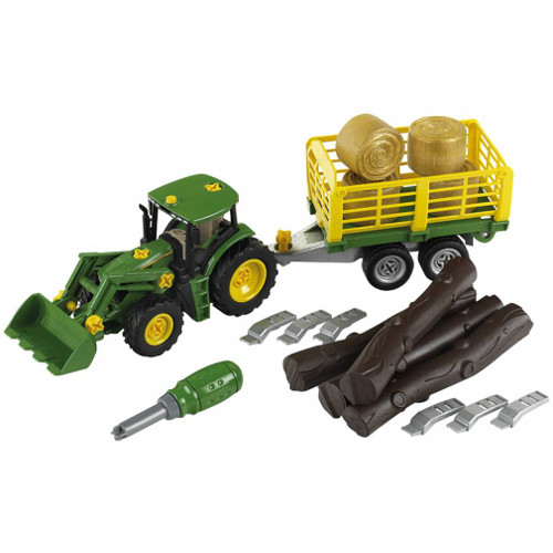 Tractor John Deere cu Remorca pentru Lemne, Klein