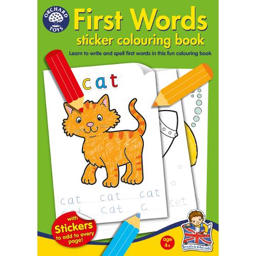 Carte de Colorat cu Activitati in Limba Engleza si Abtibilduri Primele Cuvinte, Orchard Toys