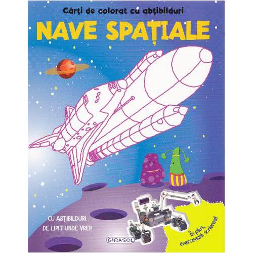 Carte de Colorat cu Abtibilduri - Nave Spatiale, Editura Girasol