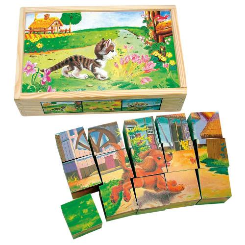 Set Cuburi de Lemn Animale Domestice, Bino