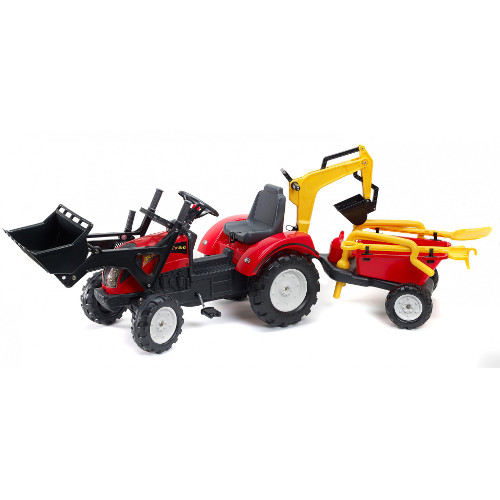 Tractor Ranch Rosu cu Cupa, Remorca si Excavator, Falk