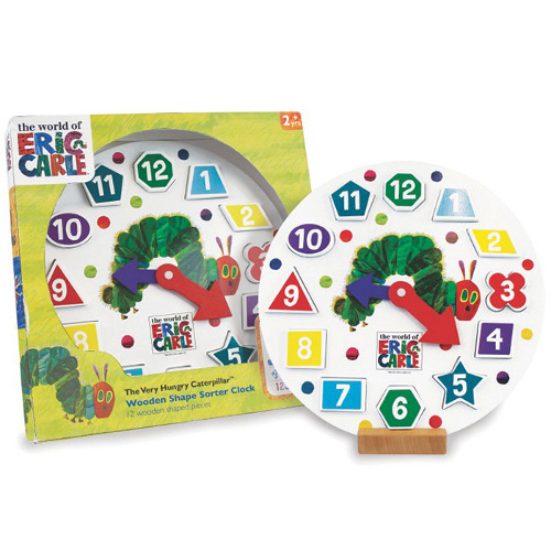 The Very Hungry Caterpillar - Ceas din Lemn cu Forme, Rainbow Design