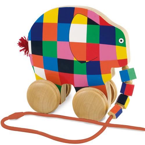 Elmer - Jucarie din Lemn cu Roti 14cm, Rainbow Design