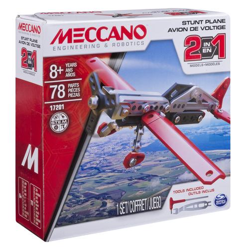 Meccano -  Set Constructie 2 in 1 Avion pentru Acrobatii, 78 Piese, Spin Master