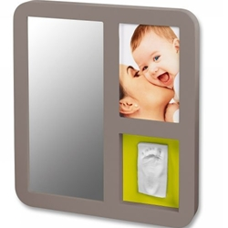 Baby Art - Mirror Print Frame Taupe And Lime-Plum
