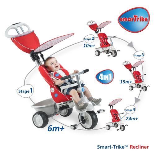 Smart Trike Recliner Stroller 4 in 1 Red