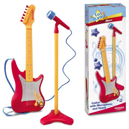 Chitara Electrica cu Microfon Rosu