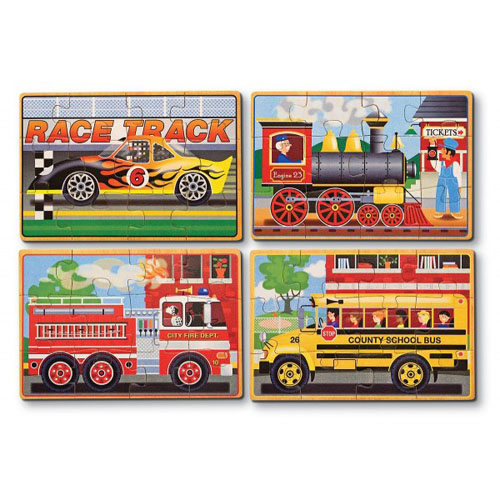 Set 4 Puzzle Lemn in Cutie Vehicule