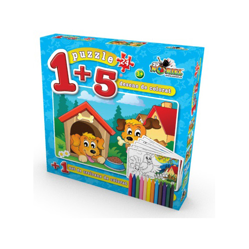 Puzzle 1+5 Coloreaza-ma Caine 24 piese