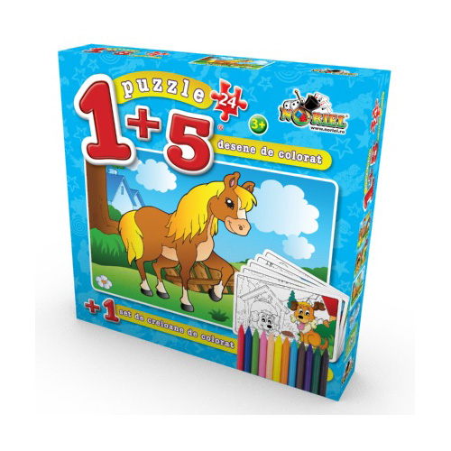Puzzle 1+5 Coloreaza-ma Cal 24 piese