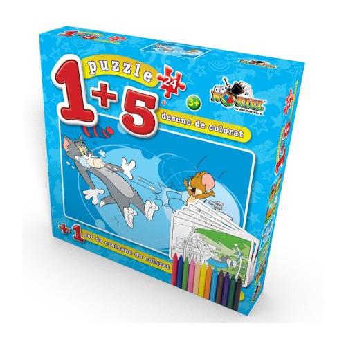 Puzzle 1+5 Coloreaza-ma Tom la Joaca 24 piese