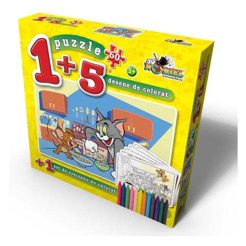 Puzzle 1+5 Coloreaza-ma Tom la Masa 60 piese