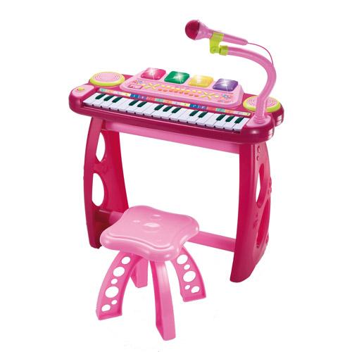 Orga Electronica cu Microfon, Scaunel si Suport Pink