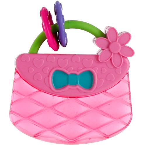 Jucarie de Dentitie Pretty in Pink Carry and Teethe Purse
