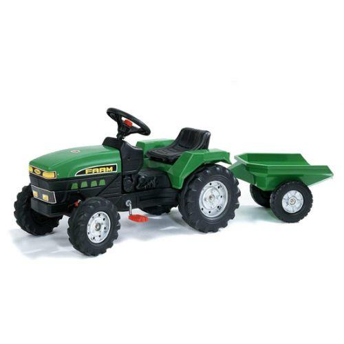 Tractor Farm Verde cu Pedale si Remorca