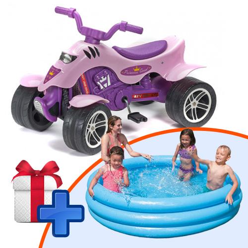 ATV Quad Princess cu Pedale + Intex - Piscina Albastra cu 3 Inele CADOU