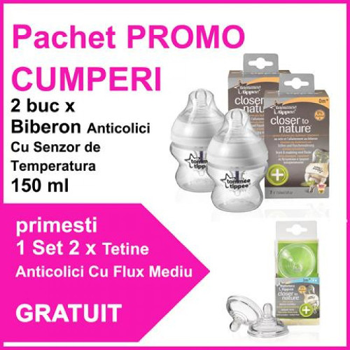 2 Biberoane Closer to Nature 150 ml TS + 2 Tetine Anticolici PROMO