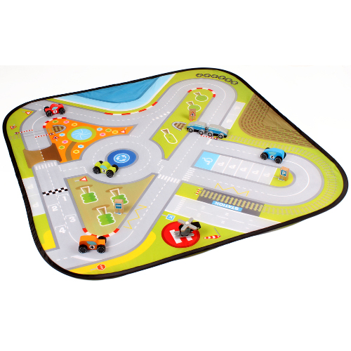 Circuit cu Masinute din Lemn Road Playing Mat