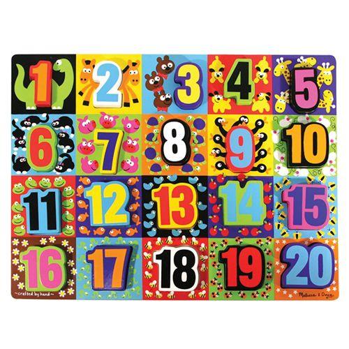 Puzzle Lemn in Relief - Numere de la 1 la 20