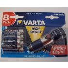 Set 8 Baterii High Energy + Mini Lanterna, VARTA