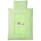 Lenjerie de Pat Sleeping Bear Green 100 x 135 cm, Easy Baby
