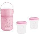 Set 2 Recipiente Plastic 250 ml cu Gentuta Izoterma Rose, Miniland Baby