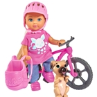 Papusa  Evi Love 12 cm Holiday Bike cu Bicicleta si Catelus, Simba