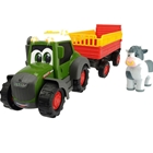 Tractor Happy Fendt Animal Trailer cu Remorca si Figurina, Dickie Toys