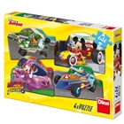 Puzzle 4 in 1 Mickey si Minnie in Cursa 4 x 54 Piese, Dino Toys