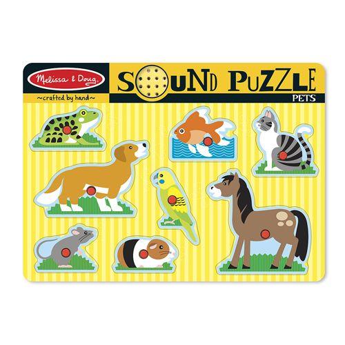 Puzzle de Lemn cu Sunete Animale de Companie, Melissa & Doug