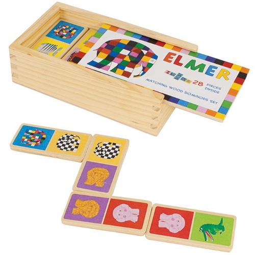 Elmer - Joc Domino din Lemn 28 Piese, Rainbow Design