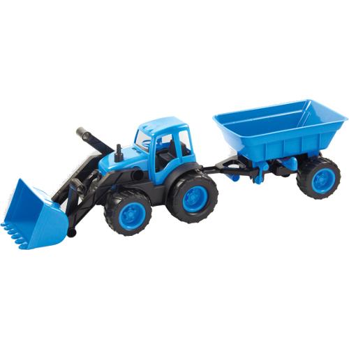 Masinuta Tractor cu Incarcator Frontal si Remorca, Mochtoys