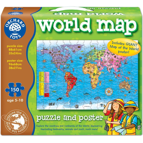 Puzzle si Poster Harta Lumii 150 Piese, Orchard Toys