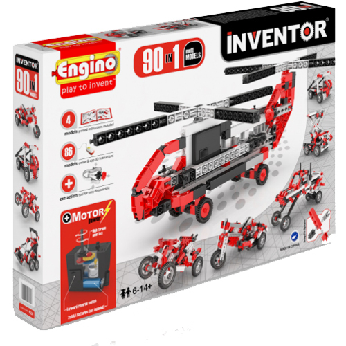 Joc de Constructie Interactiv Inventor 90 Modele Set Motorizat, Engino