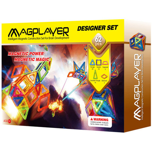 Joc de Constructie Magnetic - 62 piese, MagPlayer