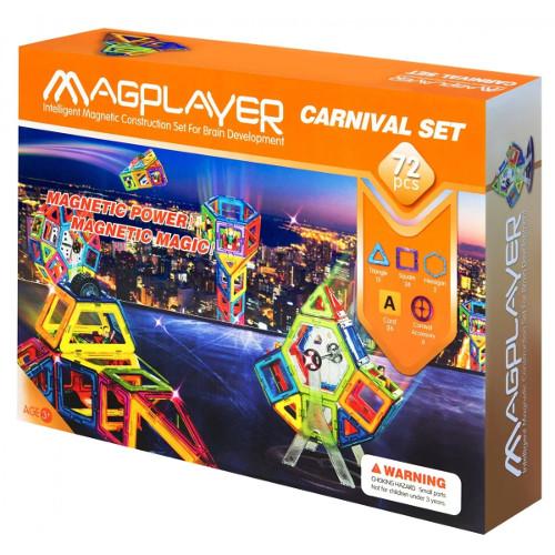 Set de constructie magnetic - 72 piese, MagPlayer