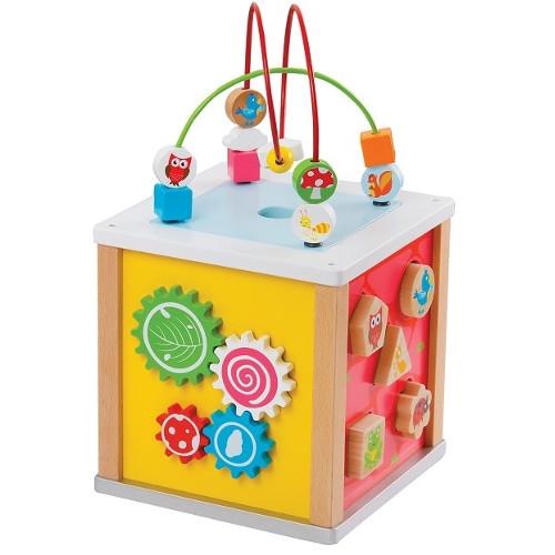 Cub din Lemn cu 5 Activitati, New Classic Toys