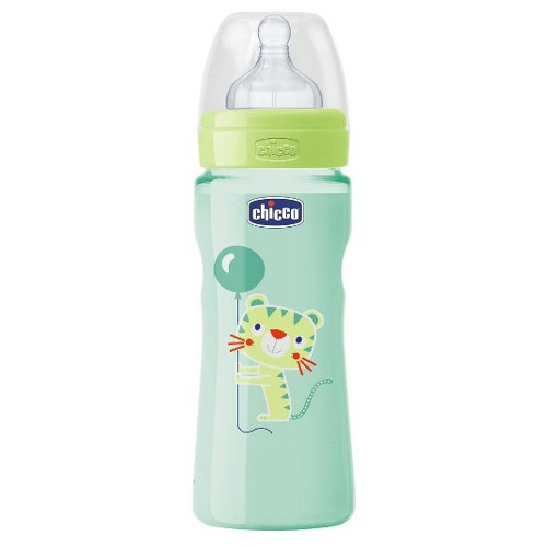Biberon WellBeing PP Colorat cu Tetina Silicon 330 ml, Chicco