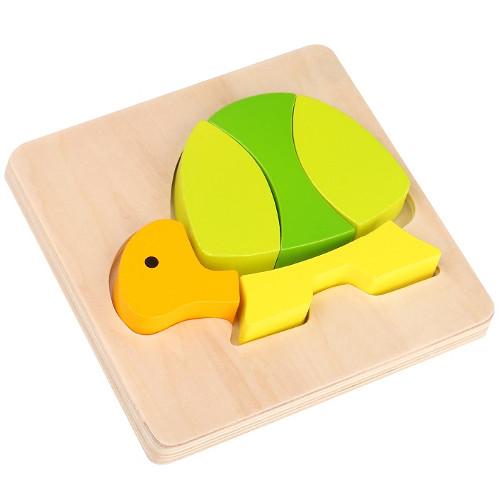 Mini Puzzle din Lemn Broasca Testoasa, Tooky Toy