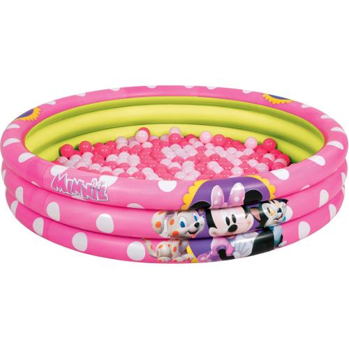 Piscina Gonflabila Minnie Mouse cu 3 Inele si 75 de Mingi, BestWay
