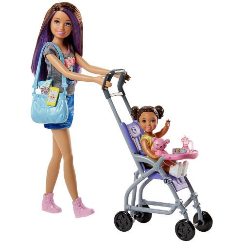 Set de Joaca Barbie Babysitters cu Carucior si Copil, Mattel